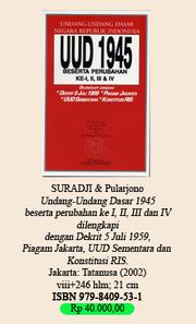 Cover of: Undang-Undang Dasar (1945) by Indonesia.