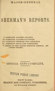 Cover of: Major-General Sherman's reports by William T. Sherman