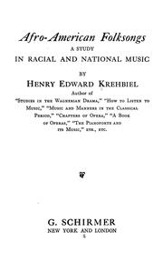 Cover of: Afro-American folksongs by Henry Edward Krehbiel
