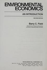 Cover of: Environmental economics by Barry C. Field