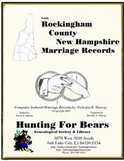 Cover of: Early Rockingham County New Hampshire Marriage Records by Nicholas Russell Murray