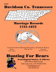Cover of: Early Davidson Co. Tennessee Marriage Records 1731-1872 by Nicholas Russell Murray