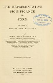 Cover of: The representative significance of form by George Lansing Raymond