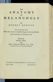 Cover of: The anatomy of melancholy by Robert Burton