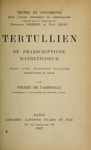 Cover of: De praescriptione haereticorum by Tertullian