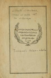 Cover of: Tercme-&#39;i Kelm-i erba-&#39;n by Alam al-Hud Al ibn al-usayn Sharf al-Murta