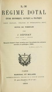 Cover of: Le régime dotal by J. Dépinay