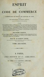 Cover of: Esprit du Code de commerce by Locré, Jean Guillaume baron de Boissy