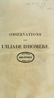 Cover of: Observations sur l'Iliade d'Homere by Jean Baptiste Dugas-Montbel