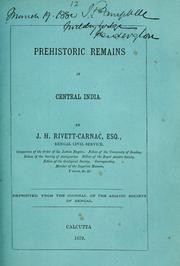 Cover of: Prehistoric remains in central India by J. H. Rivett-Carnac