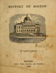 Cover of: History of Boston by Robin Carver