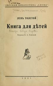 Cover of: Kniga dlia diete by Leo Tolstoy