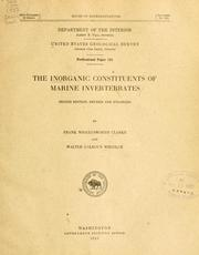 Cover of: The inorganic constituents of marine invertebrates by Clarke, Frank Wigglesworth