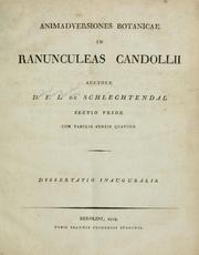 Cover of: Animadversiones botanicae in Ranunculeas Candollii by D. F. L. von Schlechtendal