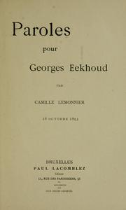 Cover of: Paroles pour Georges Eekhoud by Camille Lemonnier