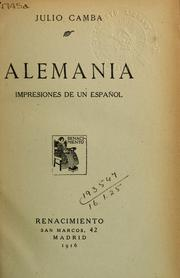 Cover of: Alemania by Camba, Julio