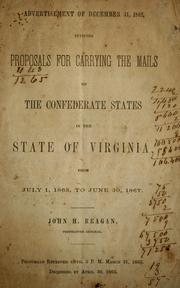 Cover of: Advertisement of December 31, 1862 by Confederate States of America. Post-Office Dept.