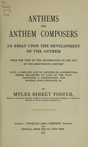 Cover of: Anthems and anthem composers by Foster, Myles Birket