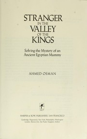 Cover of: Stranger in the Valley of the Kings by Ahmed Osman