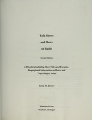 Cover of: Talk shows and hosts on radio by Annie M. Brewer