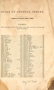 Cover of: Index of general orders by United States. Adjutant-General&#39;s Office.