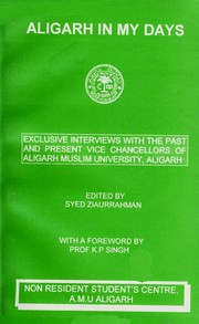 Cover of: Aligarh in My Days by Syed Ziaur Rahman