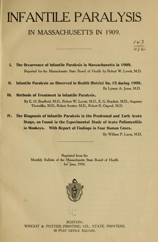Infantile paralysis in Massachusetts in 1909 by Massachusetts. State Board of Health.