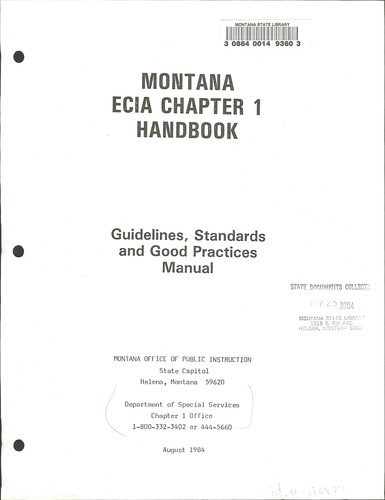 Montana ECIA chapter 1 handbook by Montana. Office of Public Instruction. Dept. of Special Services
