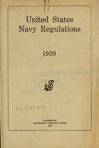 United States navy regulations, 1920 by United States. Navy Dept.