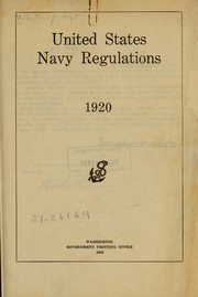 Cover of: United States navy regulations, 1920 by United States. Navy Dept.