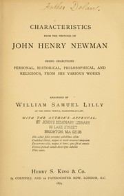 Cover of: Characteristics from the writings of John Henry Newman by John Henry Newman