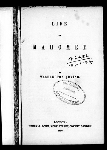 Life of Mahomet by Washington Irving