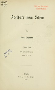 Cover of: Freiherr vom Stein by Lehmann, Max