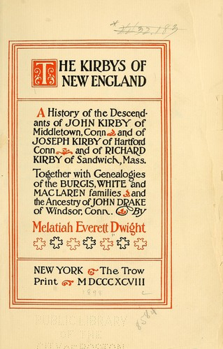 The Kirbys of New England by Melatiah Everett Dwight