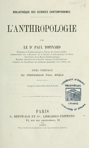 Cover of: L'anthropologie by Paul Topinard