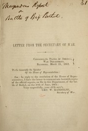 Cover of: Letter from the Secretary of War by Confederate States of America. War Dept.