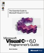 Cover of: Microsoft Visual C++=6.0 programmer's guide by Beck Zaratian