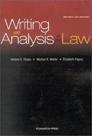 Cover of: Writing and analysis in the law by Helene S. Shapo