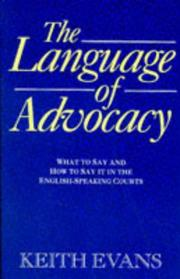 Cover of: The Language of Advocacy by Keith Evans