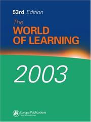 Cover of: World of Learning 2003 (Europa World of Learning) by Eur