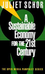 Cover of: A sustainable economy for the 21st century by Juliet Schor