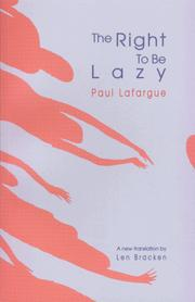 Cover of: Droit à la paresse by Paul Lafargue