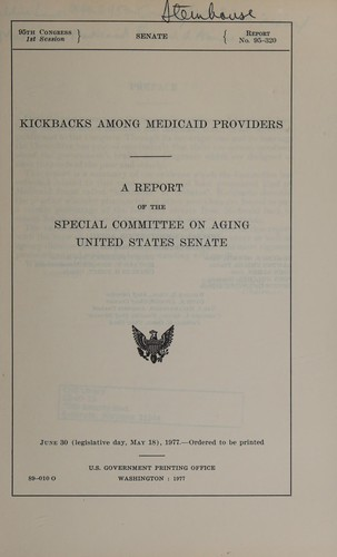 Kickbacks among Medicaid providers (1977 edition) | Open ...