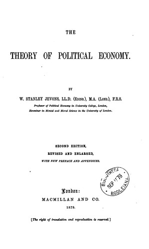 The theory of political economy by William Stanley Jevons