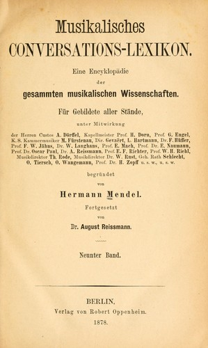 Musikalisches Conversations-Lexikon by Hermann Mendel