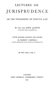Cover of: Lectures on jurisprudence | Austin, John