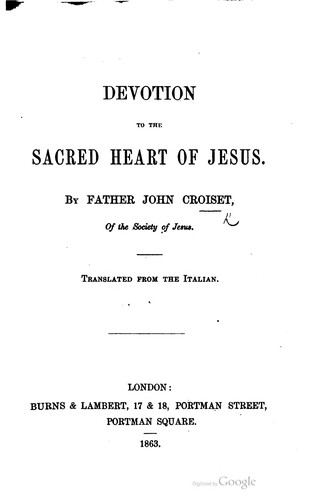 Devotion to the Sacred Heart of Jesus by Jean Croiset