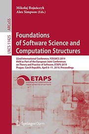 Cover of: Foundations of Software Science and Computation Structures | Mikołaj Bojańczyk, Alex Simpson