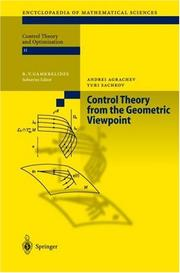 Cover of: Control Theory from the Geometric Viewpoint | Andrei A. Agrachev
