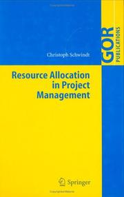 Cover of: Resource Allocation in Project Management (GOR-Publications) | Christoph Schwindt